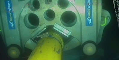 Diamond wire saw in use subsea